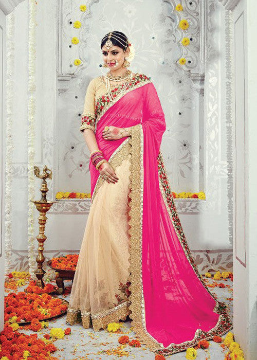 PINK BEIGE LYCRA NET PARTY SAREE