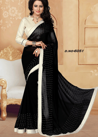 BLACK FAUX GEORGETTE SAREE - online saree shopping