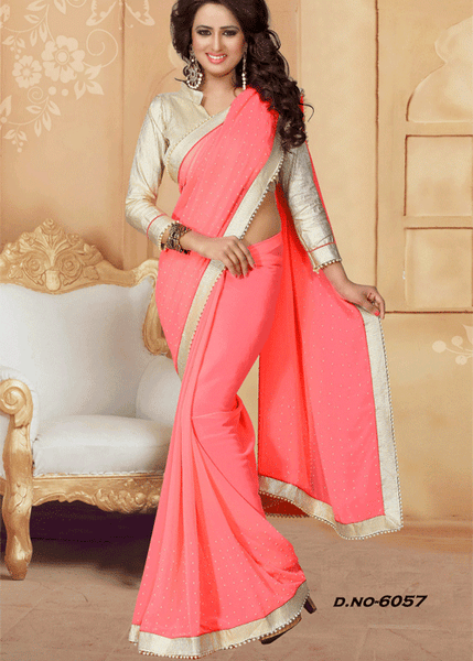 PEACH FAUX GEORGETTE SAREE