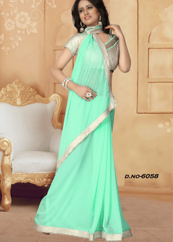 AQUA FAUX GEORGETTE SAREE