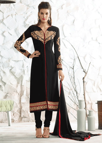 BLACK GEORGETTE SALWAR KAMEEZ - INDIAN DRESS ONLINE