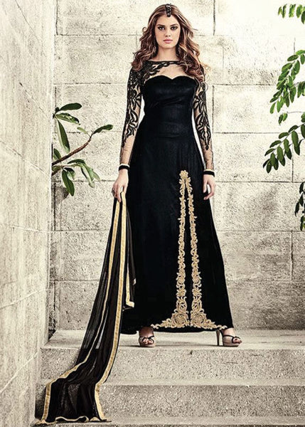 BLACK VELVET SALWAR KAMEEZ - LATEST COLLECTION