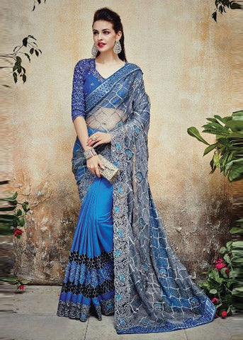 BLUE NET SATIN GEORGETTE ELEGANT INDIAN SAREE