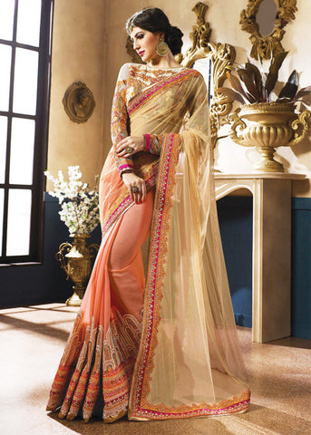 CREAM & ORANGE NET GEORGETTE SAREE 2016 LATEST