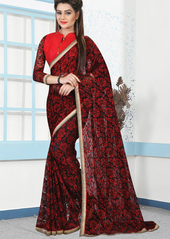 BLACK & RED RUSSEL NET PRINT SAREE - sarees online sale