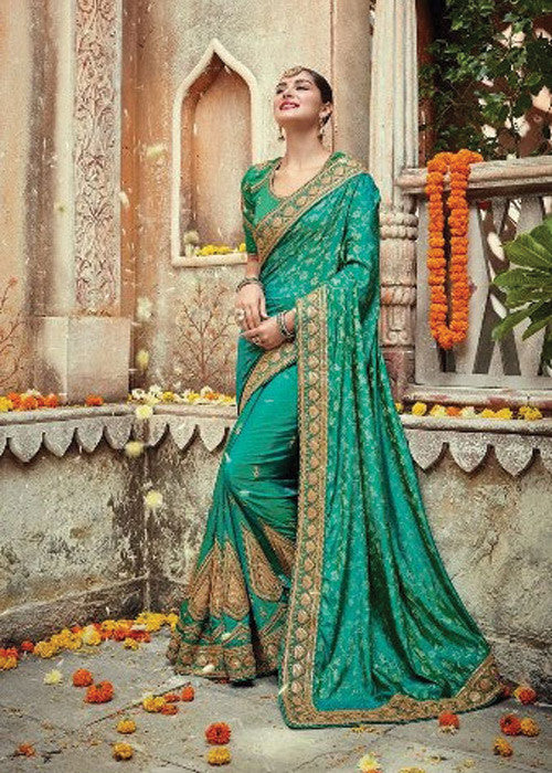 GREEN NET SATIN GEORGETTE INDIAN SAREE