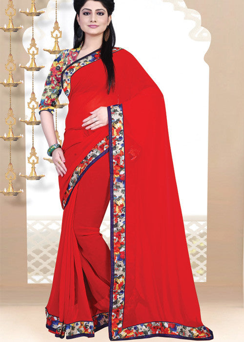 RED GEORGETTE PLAIN BODY SAREE