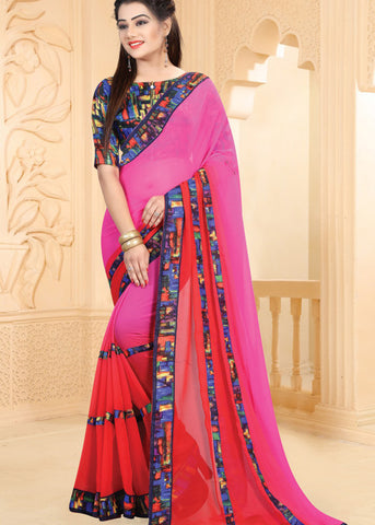 PINK & RED GEORGETTE INDIAN SAREE ONLINE