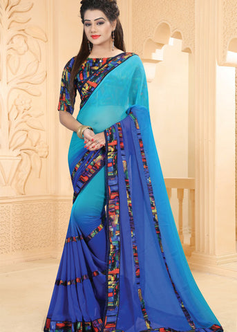 BLUE GEORGETTE INDIAN PLAIN SAREE ONLINE