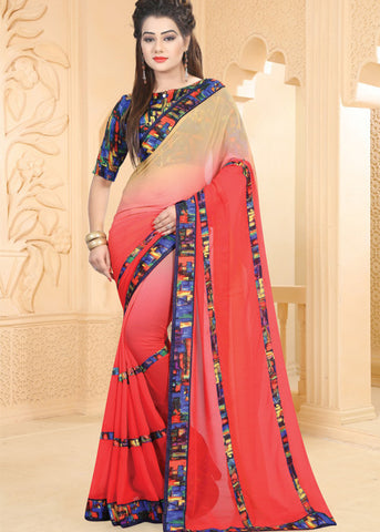 MULTICOLOR GEORGETTE INDIAN PLAIN SAREE ONLINE
