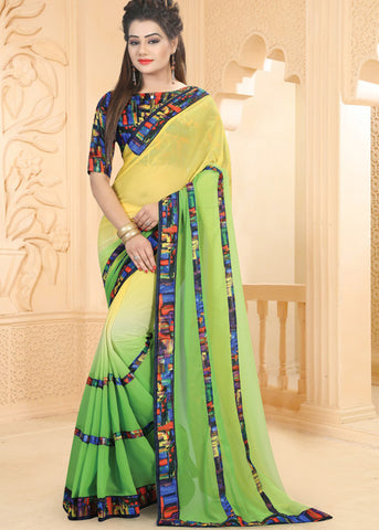 YELLOW & GREEN GEORGETTE SAREE ONLINE