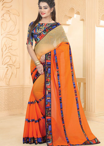 BEIGE & ORANGE GEORGETTE INDIAN SAREE ONLINE