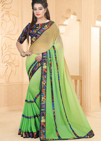 BEIGE & GREEN GEORGETTE INDIAN SAREE ONLINE