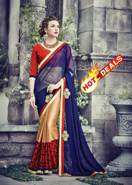 GOLD RED BLUE GEORGETTE INDIAN SAREE