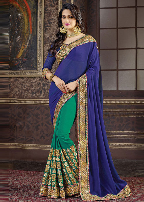 BLUE & GREEN GEORGETTE SAREE - sarees for women