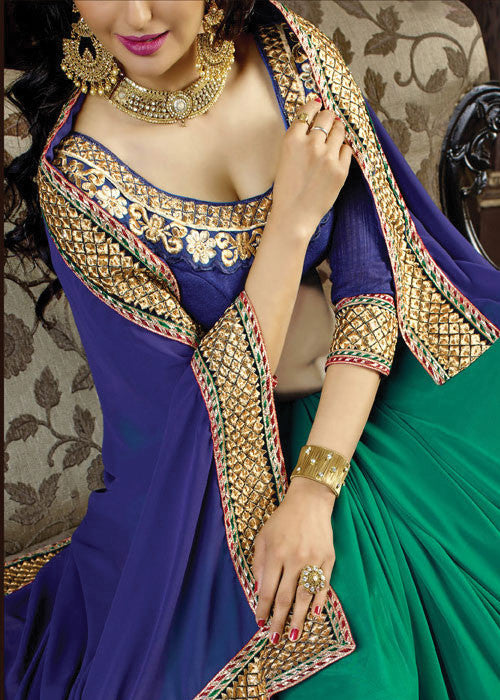 BLUE & GREEN GEORGETTE SAREE - indian sarees online usa