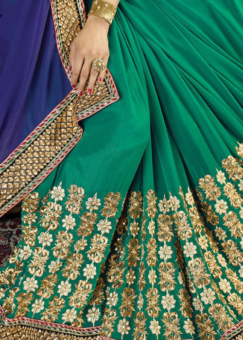 BLUE & GREEN GEORGETTE SAREE - buy indian sarees online