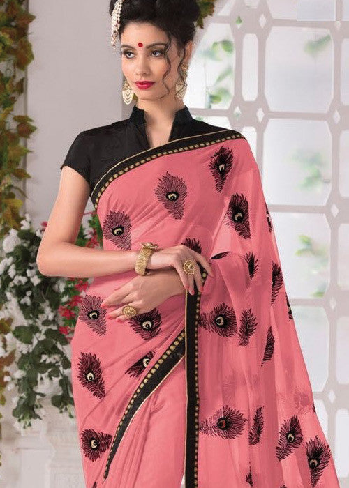PEACH GEORGETTE PLAIN BORDER SAREE