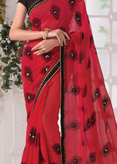 RED GEORGETTE PLAIN BORDER SAREE