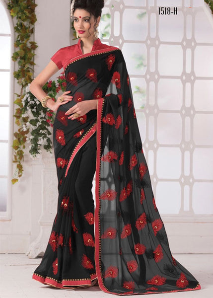 BLACK GEORGETTE PLAIN BORDER SAREE