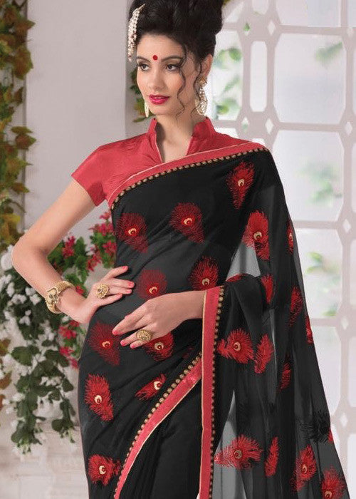 BLACK GEORGETTE PLAIN BORDER SAREE - sarees for women