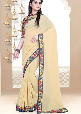 CREAM GEORGETTE PLAIN BODY SAREE