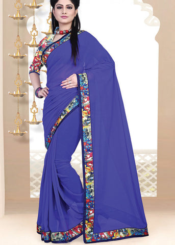 BLUE GEORGETTE PLAIN BODY SAREE