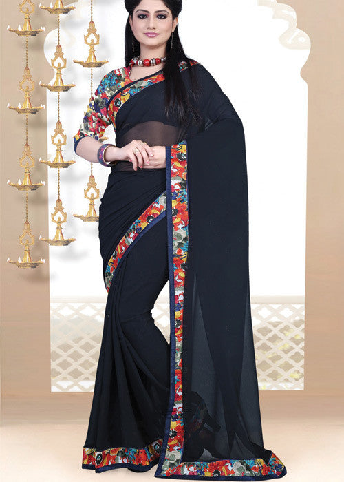 BLACK GEORGETTE PLAIN BODY SAREE - indian sari