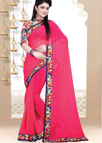 DARK PINK GEORGETTE PLAIN BODY SAREE