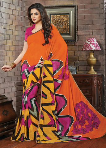 MULTICOLOR GEORGETTE PRINTED SAREE - latest sarees