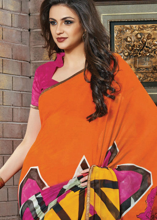 MULTICOLOR GEORGETTE PRINTED SAREE- sarees online new arrival