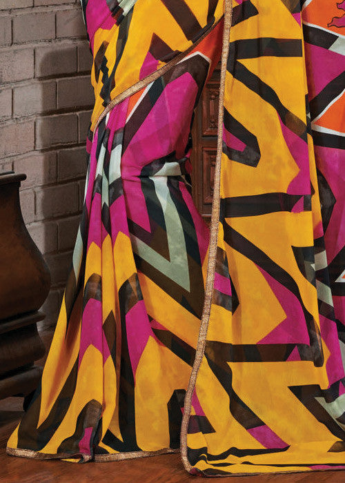 MULTICOLOR GEORGETTE PRINTED SAREE - indian saree online shopping