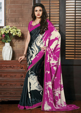 MULTICOLOR GEORGETTE PRINTED SAREE - indian saree sale