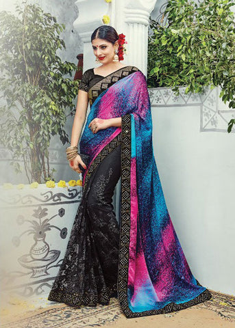 MULTICOLOR PURE SATIN SILK SAREE