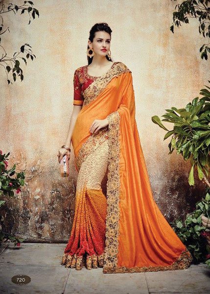 ORANGE CREAM NET SATIN GEORGETTE INDIAN SAREE