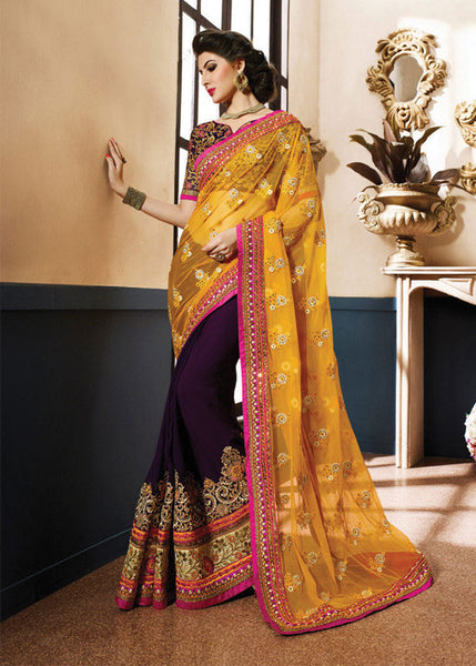 ORANGE & PURPLE NET GEORGETTE SAREE 2016 LATEST
