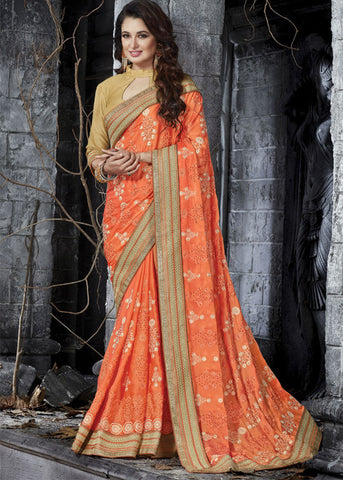 ORANGE CREPE CHIFFON NET INDIAN SAREE
