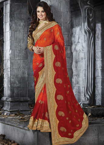 ORANGE & MAROON GEORGETTE CHIFFON PARTY SAREE