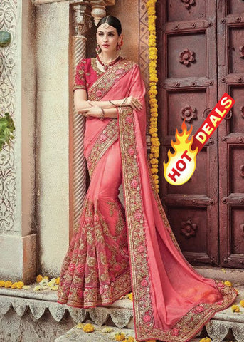 PEACH NET SATIN GEORGETTE INDIAN SAREE