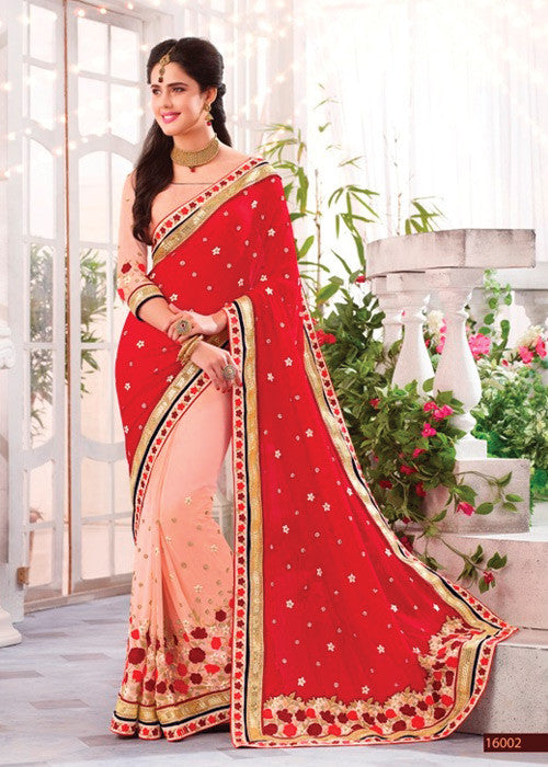 PEACH & RED GEORGETTE SAREE BY V TRENDZ