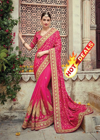 PINK NET SATIN GEORGETTE INDIAN SAREE