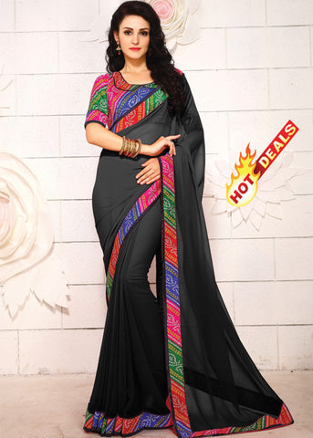 BLACK GEORGETTE PLAIN BODY SAREE - indian sarees