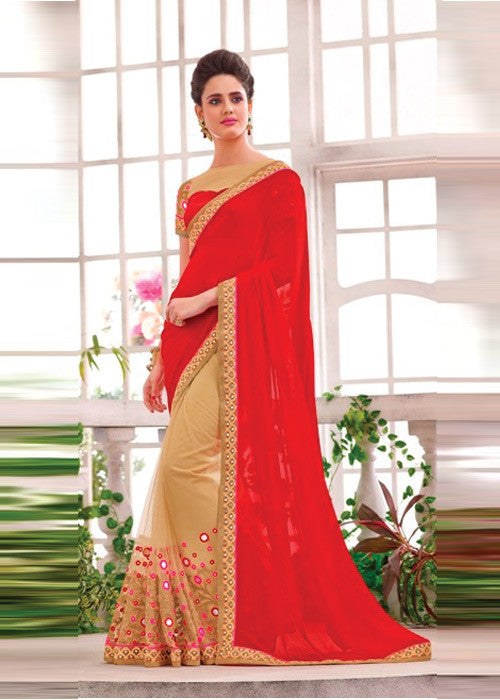 RED & CREAM GEORGETTE SARI BY V TRENDZ