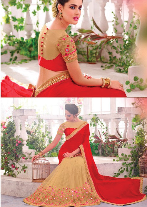 RED & CREAM GEORGETTE INDIAN SAREE BY V TRENDZ