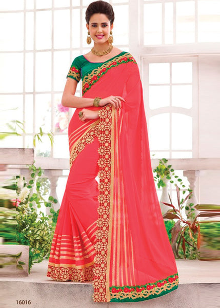 SALMON RED GEORGETTE SAREE BY V TRENDZ