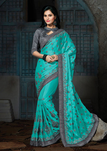 ROYAL SEA GREEN CREPE / CHIFFON SAREE