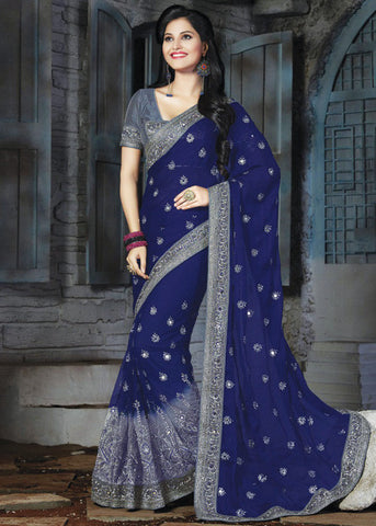 STUNNING GRAY & BLUE NET / CHIFFON SAREE