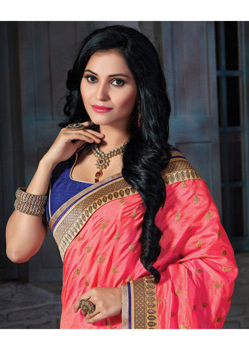 CHARMING PEACH PASHMINA SILK SAREE - sarees online new arrival