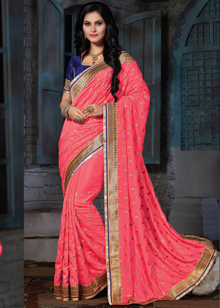 CHARMING PEACH PASHMINA SILK SAREE