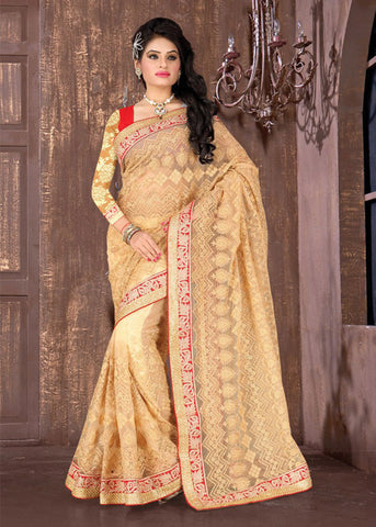 CREAM NET GORGEOUS SAREE
